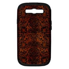 Damask2 Black Marble & Brown Burl Wood (r) Samsung Galaxy S Iii Hardshell Case (pc+silicone) by trendistuff
