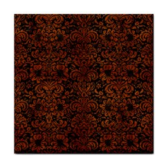 Damask2 Black Marble & Brown Burl Wood Tile Coaster by trendistuff