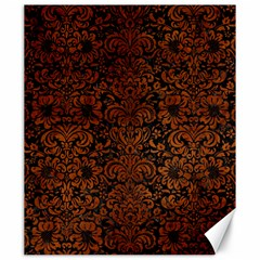 Damask2 Black Marble & Brown Burl Wood Canvas 20  X 24  by trendistuff