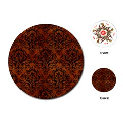Damask1 Black Marble & Brown Burl Wood (r) Playing Cards (round) by trendistuff