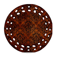 Damask1 Black Marble & Brown Burl Wood (r) Round Filigree Ornament (two Sides) by trendistuff
