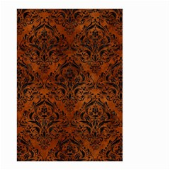 Damask1 Black Marble & Brown Burl Wood (r) Small Garden Flag (two Sides) by trendistuff