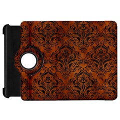 Damask1 Black Marble & Brown Burl Wood (r) Kindle Fire Hd Flip 360 Case by trendistuff