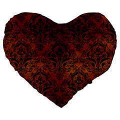 Damask1 Black Marble & Brown Burl Wood (r) Large 19  Premium Flano Heart Shape Cushion by trendistuff