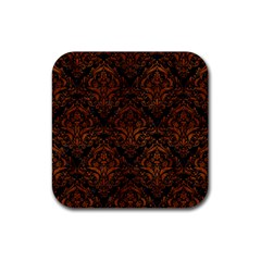 Damask1 Black Marble & Brown Burl Wood Rubber Coaster (square) by trendistuff