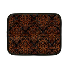 Damask1 Black Marble & Brown Burl Wood Netbook Case (small) by trendistuff