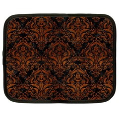 Damask1 Black Marble & Brown Burl Wood Netbook Case (xl) by trendistuff