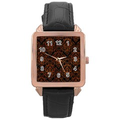 Damask1 Black Marble & Brown Burl Wood Rose Gold Leather Watch  by trendistuff