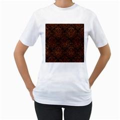 Damask1 Black Marble & Brown Burl Wood Women s T Shirt (white)  by trendistuff