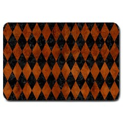 Diamond1 Black Marble & Brown Burl Wood Large Doormat by trendistuff