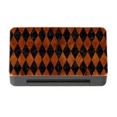 Diamond1 Black Marble & Brown Burl Wood Memory Card Reader With Cf by trendistuff