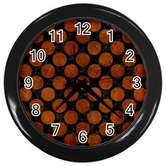 Circles2 Black Marble & Brown Burl Wood Wall Clock (black) by trendistuff