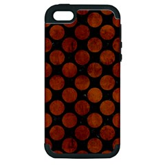 Circles2 Black Marble & Brown Burl Wood Apple Iphone 5 Hardshell Case (pc+silicone) by trendistuff