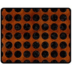 Circles1 Black Marble & Brown Burl Wood (r) Fleece Blanket (medium) by trendistuff