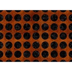 Circles1 Black Marble & Brown Burl Wood (r) Birthday Cake 3d Greeting Card (7x5) by trendistuff