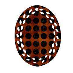 Circles1 Black Marble & Brown Burl Wood (r) Ornament (oval Filigree) by trendistuff