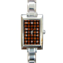 Circles1 Black Marble & Brown Burl Wood Rectangle Italian Charm Watch by trendistuff