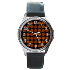 Circles1 Black Marble & Brown Burl Wood Round Metal Watch by trendistuff