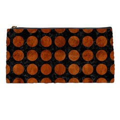 Circles1 Black Marble & Brown Burl Wood Pencil Case by trendistuff