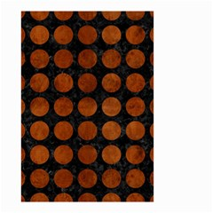 Circles1 Black Marble & Brown Burl Wood Small Garden Flag (two Sides) by trendistuff