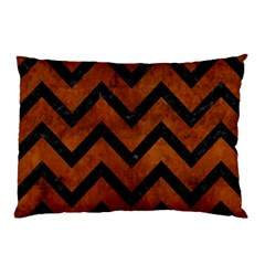 Chevron9 Black Marble & Brown Burl Wood (r) Pillow Case by trendistuff