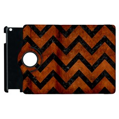 Chevron9 Black Marble & Brown Burl Wood (r) Apple Ipad 2 Flip 360 Case by trendistuff