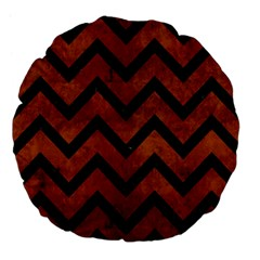 Chevron9 Black Marble & Brown Burl Wood (r) Large 18  Premium Flano Round Cushion  by trendistuff