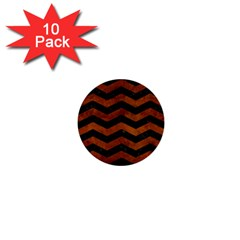 Chevron3 Black Marble & Brown Burl Wood 1  Mini Button (10 Pack)  by trendistuff