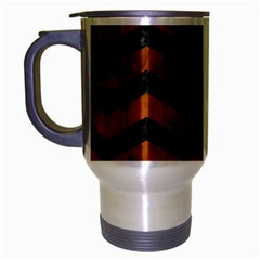 Chevron3 Black Marble & Brown Burl Wood Travel Mug (silver Gray) by trendistuff