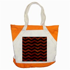 Chevron3 Black Marble & Brown Burl Wood Accent Tote Bag by trendistuff
