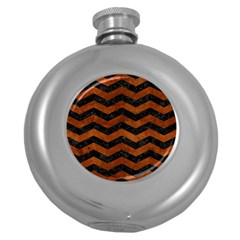 Chevron3 Black Marble & Brown Burl Wood Hip Flask (5 Oz) by trendistuff