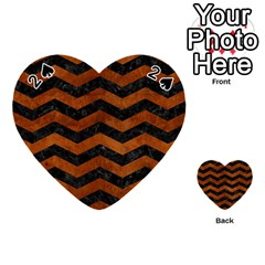 Chevron3 Black Marble & Brown Burl Wood Playing Cards 54 (heart) by trendistuff