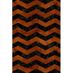 Chevron3 Black Marble & Brown Burl Wood 5 5  X 8 5  Notebook by trendistuff