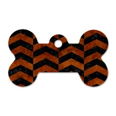 Chevron2 Black Marble & Brown Burl Wood Dog Tag Bone (one Side)