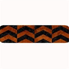 Chevron2 Black Marble & Brown Burl Wood Large Bar Mat by trendistuff