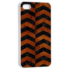 Chevron2 Black Marble & Brown Burl Wood Apple Iphone 4/4s Seamless Case (white) by trendistuff