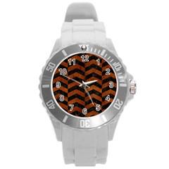 Chevron2 Black Marble & Brown Burl Wood Round Plastic Sport Watch (l) by trendistuff