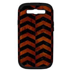 Chevron2 Black Marble & Brown Burl Wood Samsung Galaxy S Iii Hardshell Case (pc+silicone) by trendistuff