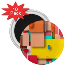 Rounded Rectangles 2 25  Magnets (10 Pack)  by hennigdesign