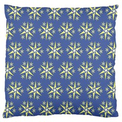 Modern Star Pattern Yellow White On Blue Standard Flano Cushion Cases (two Sides)  by CircusValleyMall