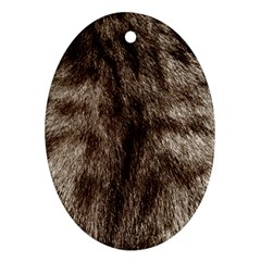 Black And White Silver Tiger Fur Ornament (oval)  by timelessartoncanvas