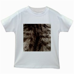 Black And White Silver Tiger Fur Kids White T Shirts by timelessartoncanvas