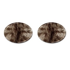 Black And White Silver Tiger Fur Cufflinks (oval) by timelessartoncanvas