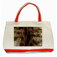 Black And White Silver Tiger Fur Classic Tote Bag (red) by timelessartoncanvas