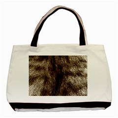 Black And White Silver Tiger Fur Basic Tote Bag (two Sides) by timelessartoncanvas