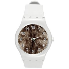 Black And White Silver Tiger Fur Round Plastic Sport Watch (m) by timelessartoncanvas