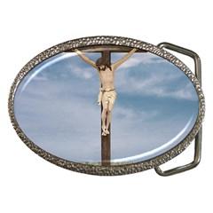 Jesus On The Cross Illustration Belt Buckles by dflcprints