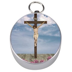 Jesus On The Cross Illustration Silver Compasses by dflcprints