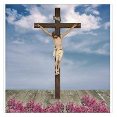 Jesus On The Cross Illustration Large Satin Scarf (square) by dflcprints