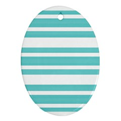 Teal Adn White Stripe Designs Ornament (oval)  by timelessartoncanvas